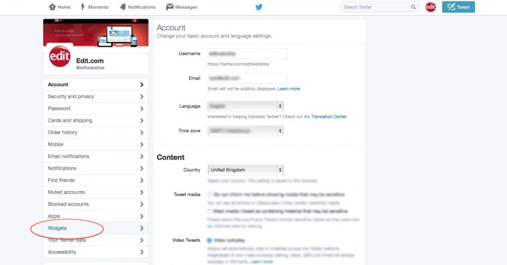 screen shot of edit.com twitter account - choosing settings