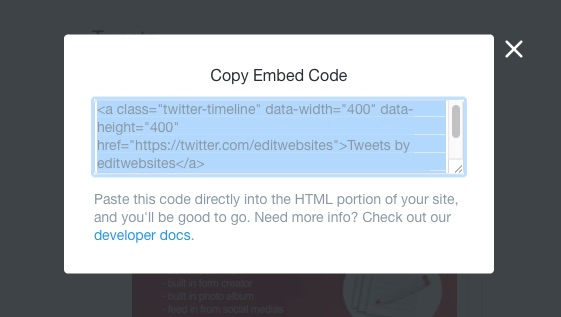 screen shot of embed code for edit.com twitter feed