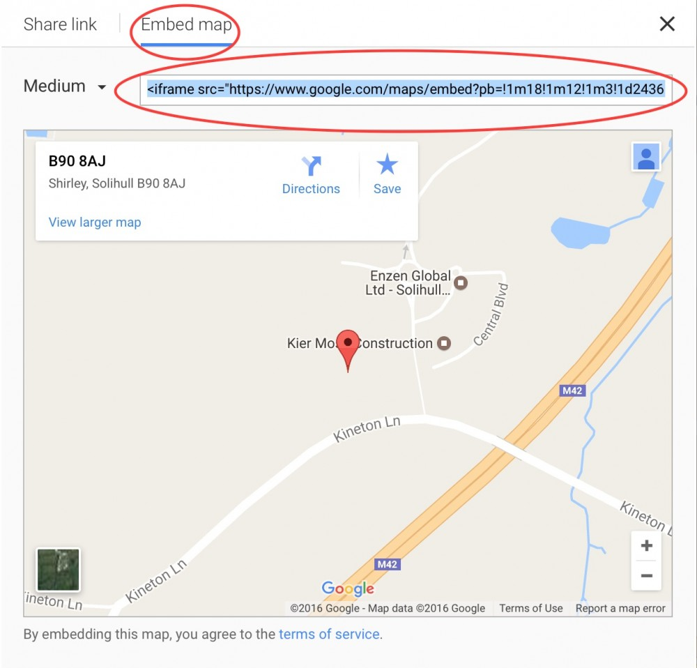 image of google maps showing embed code