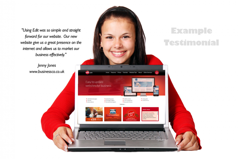 Image of woman with laptop and website showing sample testimonial