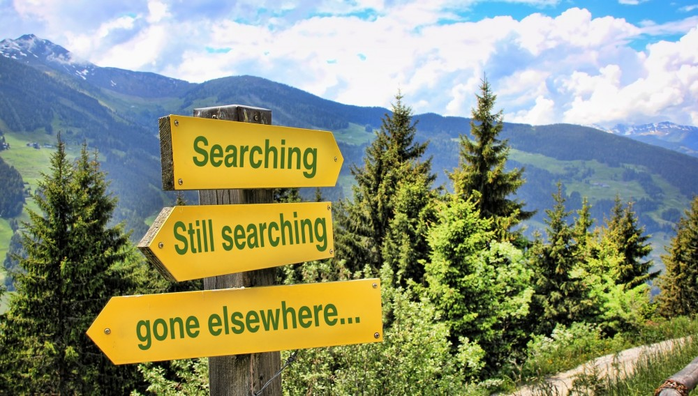 image of sign posts saying... searching, still search, gone elsewhere