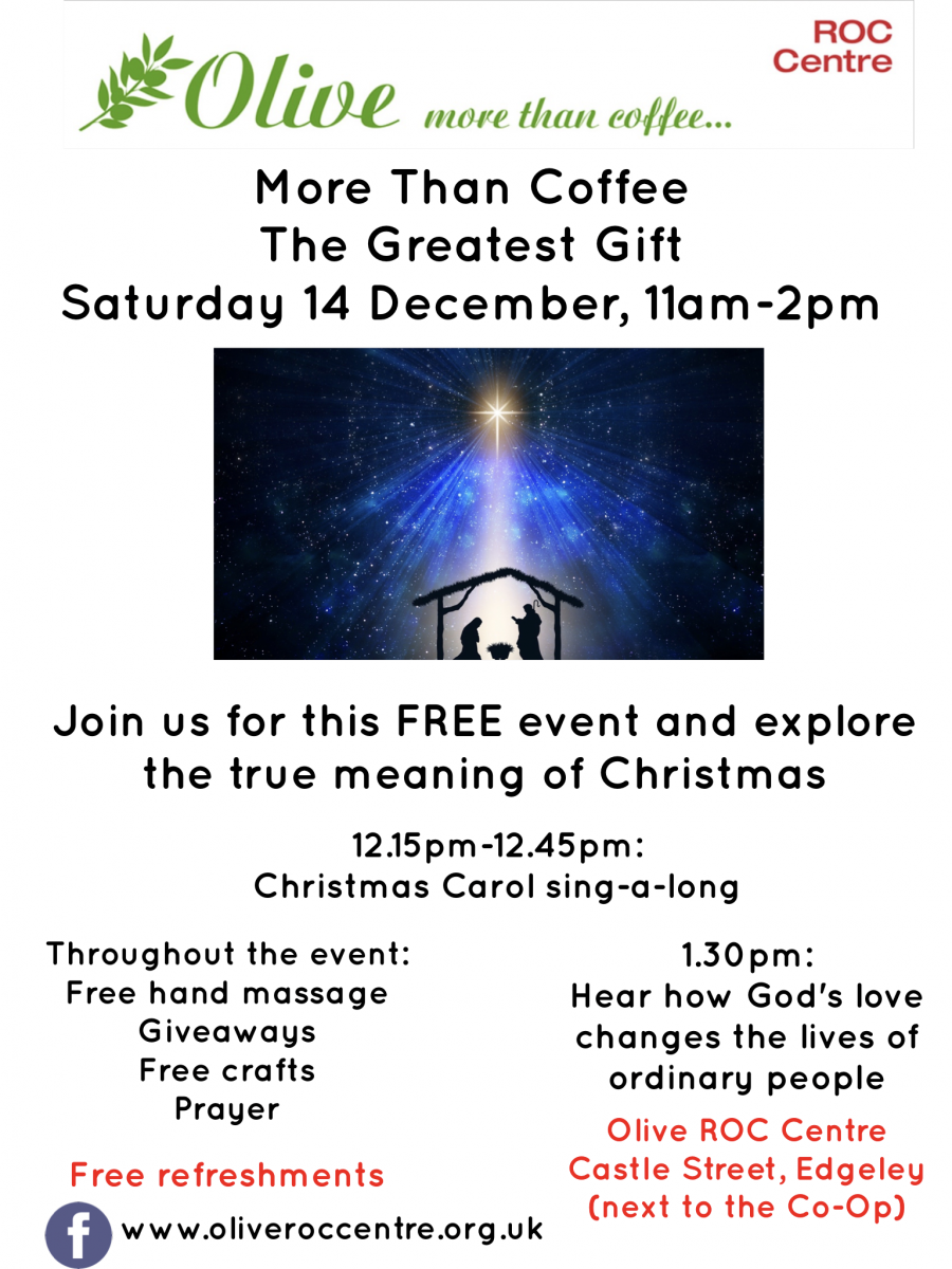 more than coffee poster giving details of event and showing an image of a star shining on a traditional nativity scene