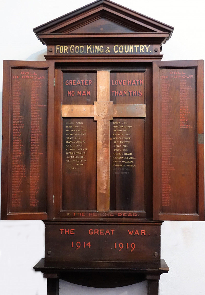 Roll of Honour prior to restoration (July 2018)