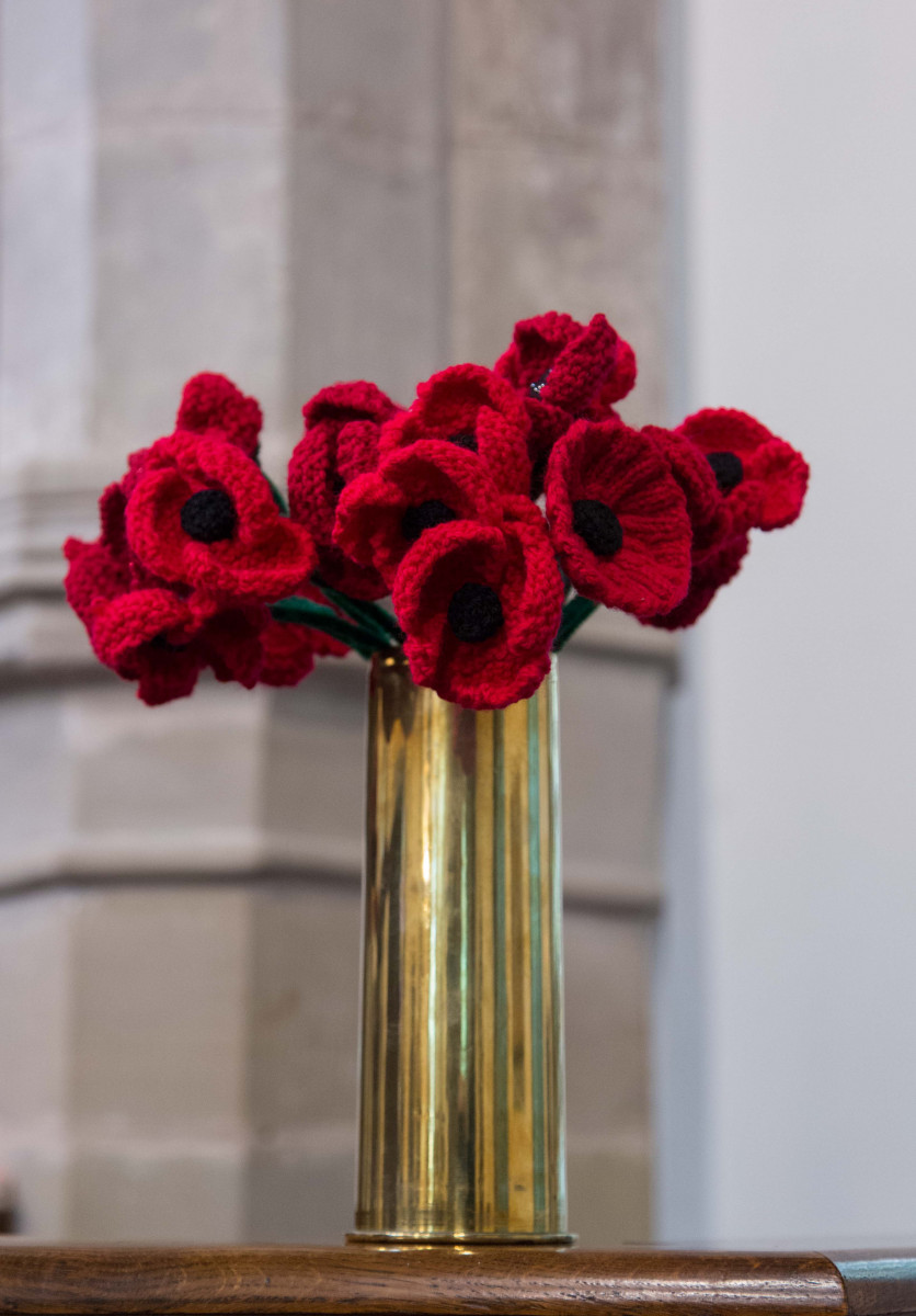 Poppies in First World War shell case