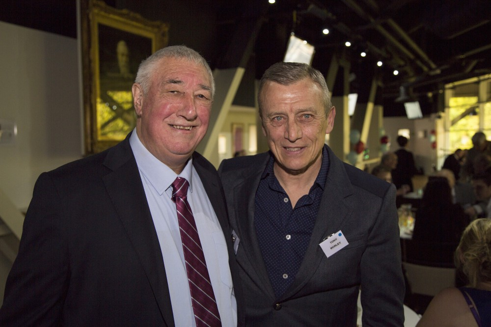 John Flanner MBE with Aston Villa legend Tony Morley