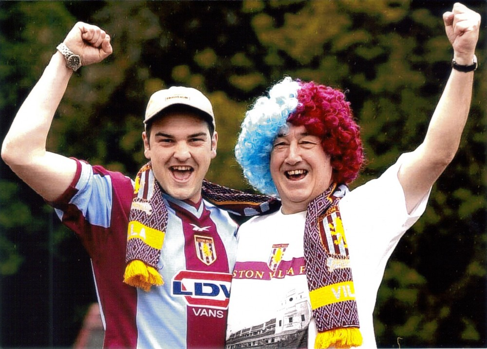 Enjoying the match with his son Ian, John Flanner MBE at the Cup Final in May 2000.  Aston Villa 0, Chelsea 1.