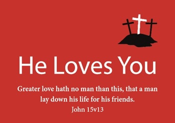 He Loves You (Red Business Card) - 2p