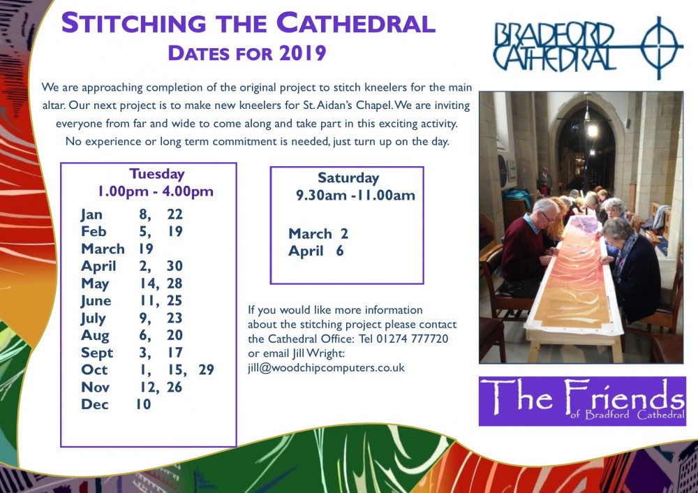 Stitching the Cathedral dates for 2019.