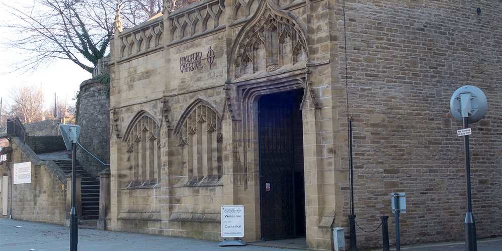 Outside Bradford Cathedral.