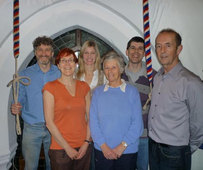 From Left to right-Greg Jones (Ringing Master), Averil Brooker, Kate Groocock, Sue Ward, Darren Tilley and Tony Farmer