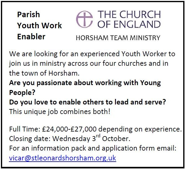 advert for Youth Work Enabler in Horsham Parish