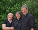 Revs. Jacky Cammidge and Debbie Oades with Canon Rod Cosh