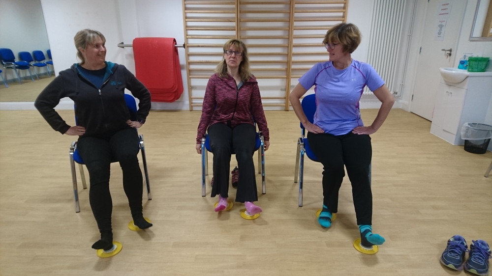 Sarah, Carol and Sarah demonstrating their use of the Ortho-Glide for the Walking for Wellness class.