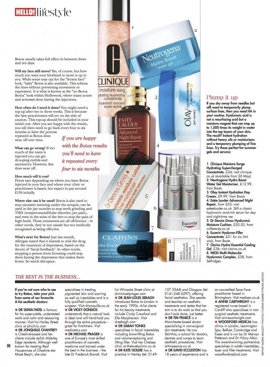 Annie Cartwright recommended by Hello! Magazine for Botox