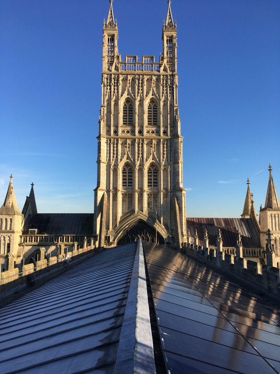 Image of Gloucester Cathedral solar panels kindly provided by St Ann's Gate Achitects