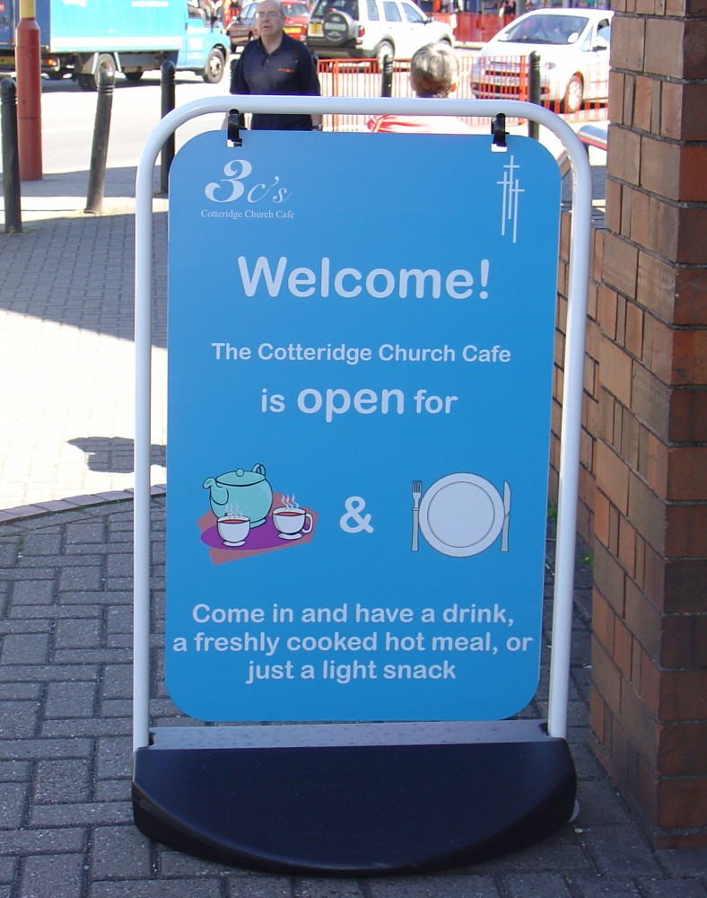 Sign displayed outside when coffee bar is open