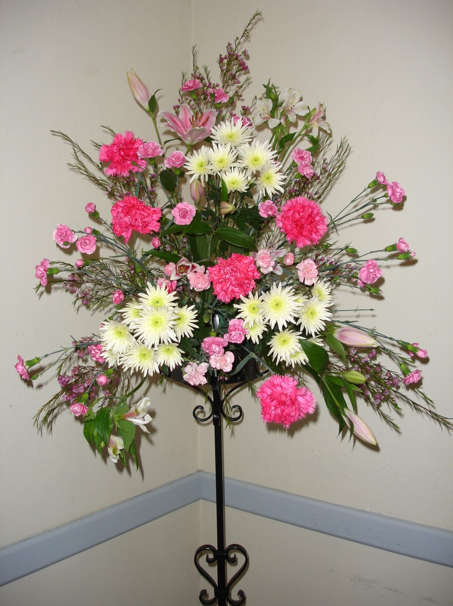 Pedestal flowers in the Malvern Room