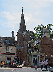 A view of the church steeple from the market square