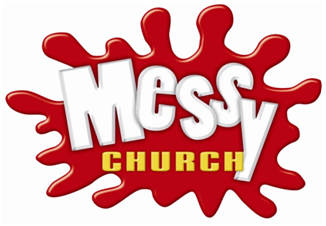 Messy church written on a red ink blot