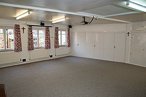 View of the newly carpeted,curtained and painted room