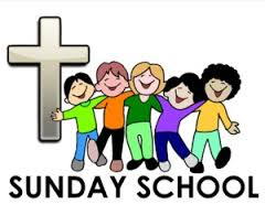 Clipart of five children dancing at Sunday School next to a cross