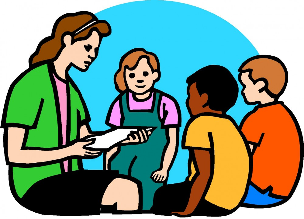 Clipart of a Sunday school teacher with three seated children