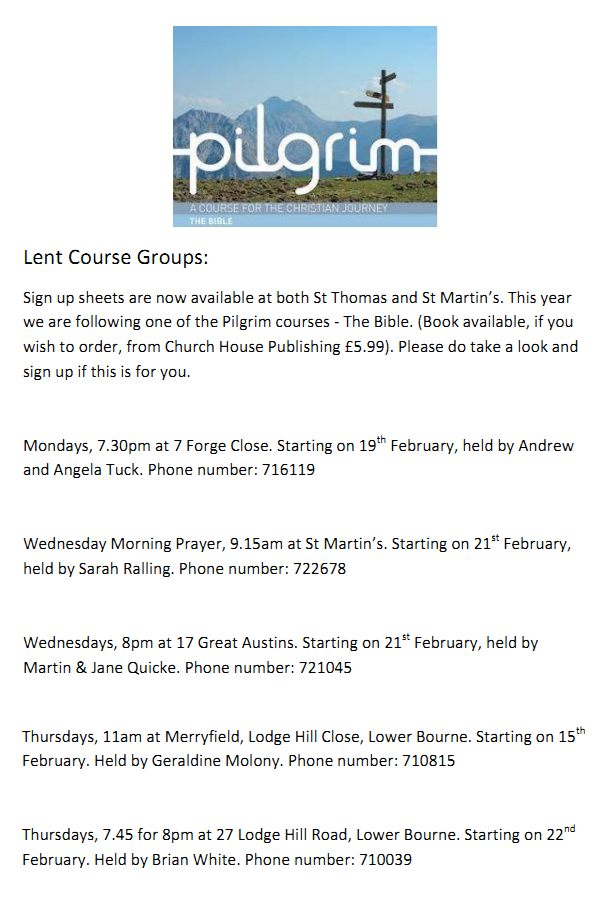 Pilgrim course lent 2018
