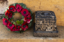 Spinks memorial and wreath