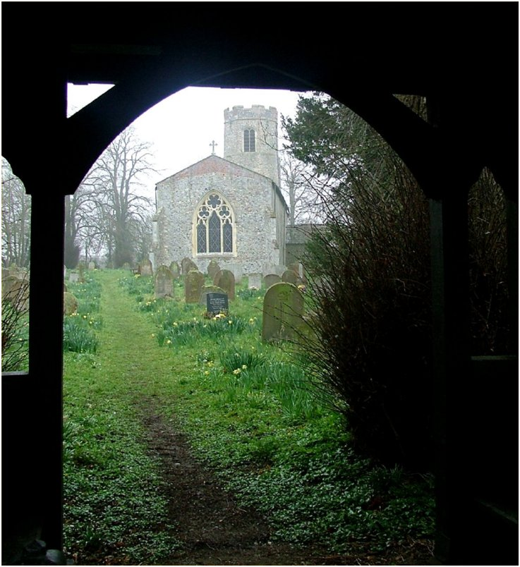 St Catherine's church, viewed from the lych gate.