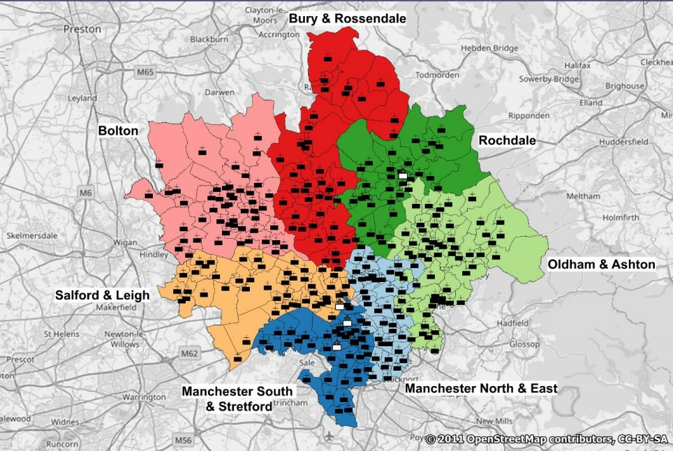 Map of diocese showing deaneries