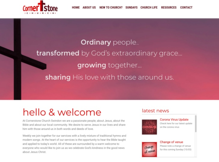 Cornerstone Church Swindon website