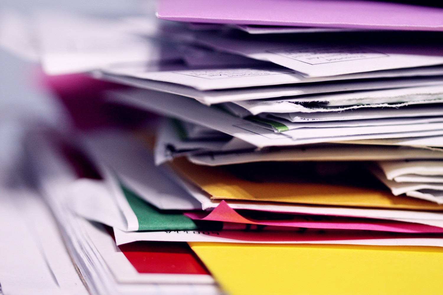 Image of a stack of papers and files