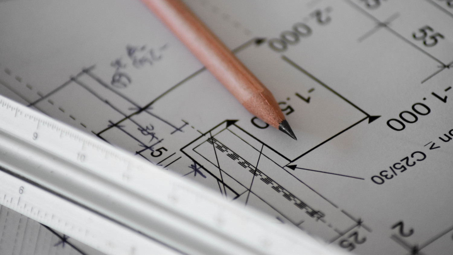 Image of architectural drawings on a desk