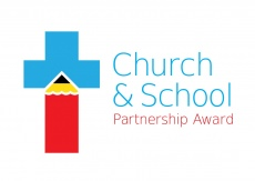 Church School Partnership Award, Blue Cross with a Red Pencil as part of the design