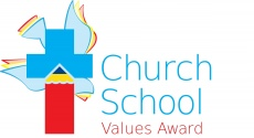 Church School Values Award, Blue cross with red pencil and dove as part of the design