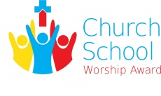 Church School Worship Award, small red/blue cross with 3 people with arms in the air logo
