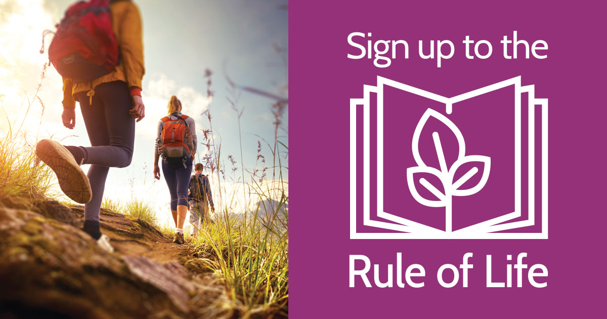Two backpackers on a journey combined with the sign up to the Rule of Live logo